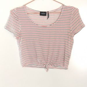 UO Out From Under Striped Tie Front Crop Top Small